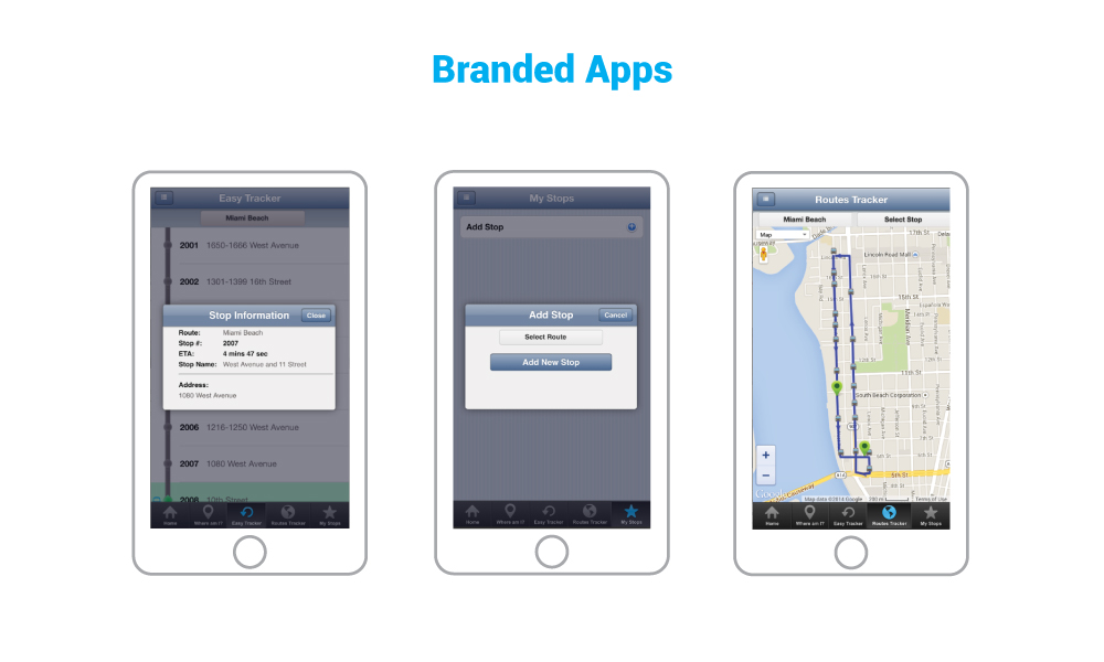 Public Transportation mobile app software showcasing routes tracker