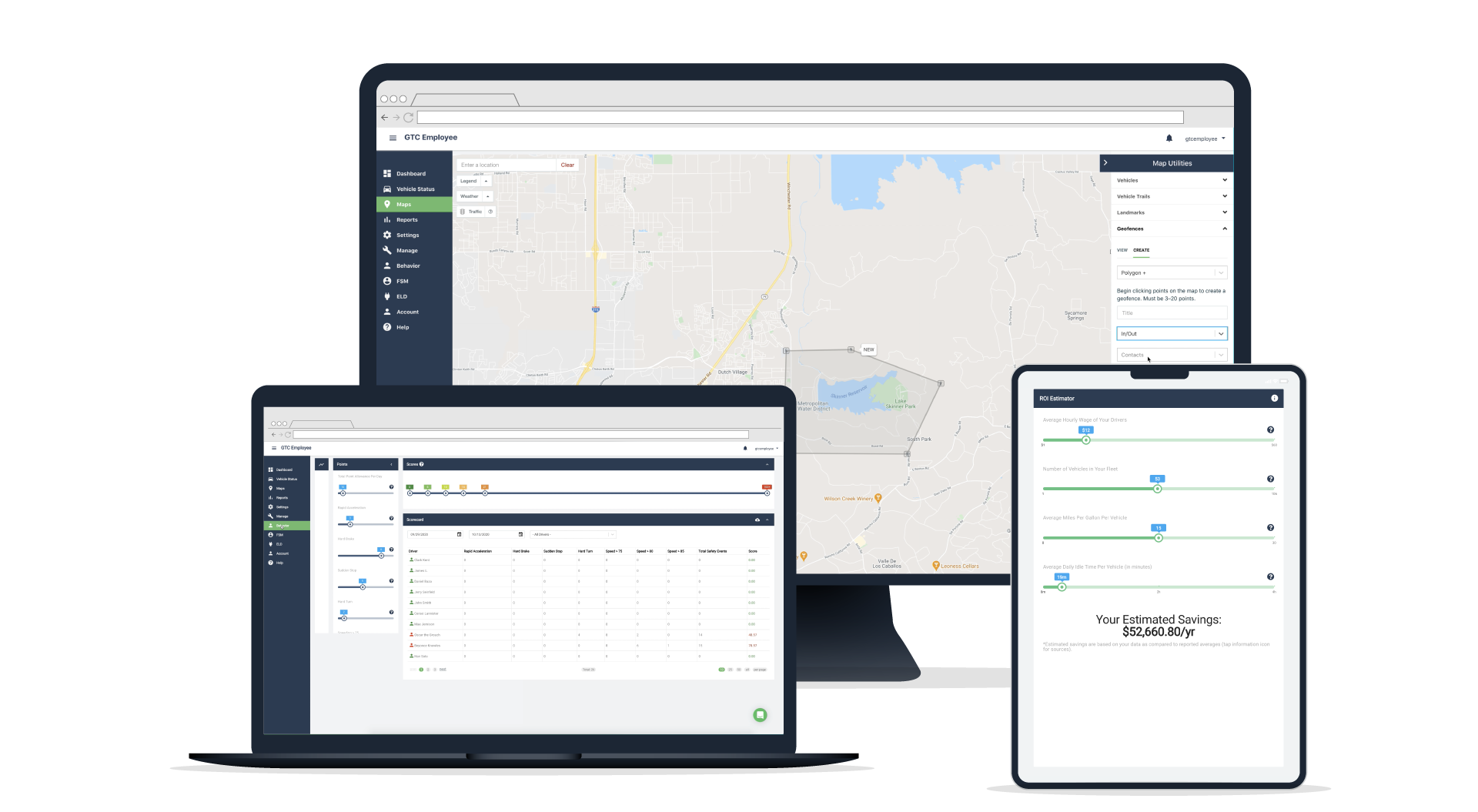 GPS Trackit's Fleet Management software displayed on a laptop, desktop and mobile device.
